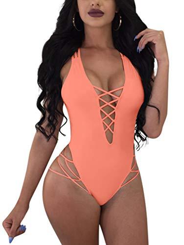 LAGSHIAN Womens Sexy One Piece Lace Up Straps Swimsuit Bathing Suit Swimwear Princess Pink -