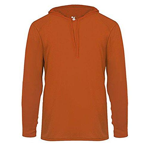 - Badger B-Core Long Sleeve Hooded T-Shirt XS Burnt Orange