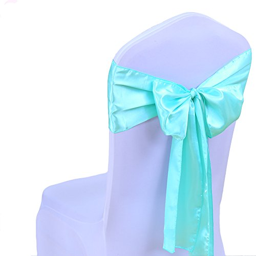 Pack of 100PCS Wedding Decoration Multi-Color Satin Chair Cover Bow Ties in Event & Party Supply Chair Sashes (tiffany - Ribbon Tiffany Co &