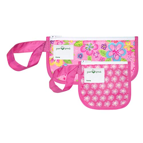 green sprouts Reusable Snack Bags (2 Pack) | Holds Food, Utensils, Wipes, More | Food-Safe, Waterproof, Easy-Clean Material, Pink Flower Field