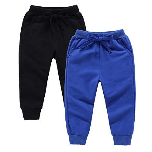 Sweatpants Pocket 2 - ALALIMINI Toddler Sweatpants 2Pack Cotton Active Jogger Casual Elastic for Boys&Girls Unisex Kids Pants(Black&Royal Blue 90CM/2T)