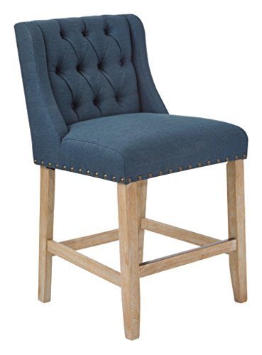 AVE SIX Kate 24-Inch Tufted Wingback Stool with Solid Wood Legs, Klein Azure Fabric