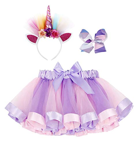 Simplicity Unicorn Tutu Rainbow Layered Tulle Tutu Skirt for Birthday Party Unicorn Headband Hair Bow by Simplicity