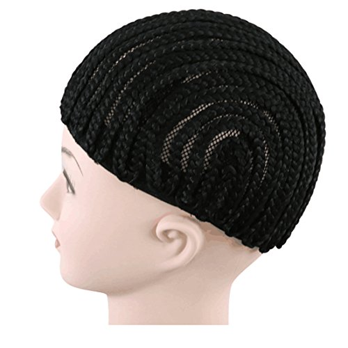 [CCOLLEGE Hair 1piece/lot Black Color Spider Braids Wig Cap Cornrows Cap for Easier Sew in Braided Wig Caps Crotchet Weaving Cap with Braids (Large] (Cornrow Wigs)