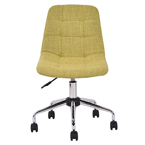 Costway 1PC Upholstered Office Chair Height Adjustable Swivel Armless Grass Green