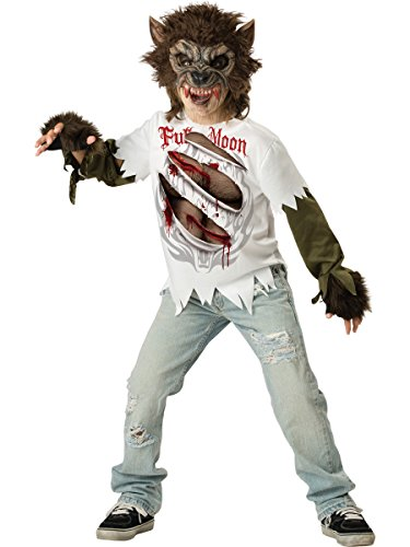 Costumes Werewolf (InCharacter Costumes, LLC Boys Werewolf Mask and Shirt Set, Multi Color,)