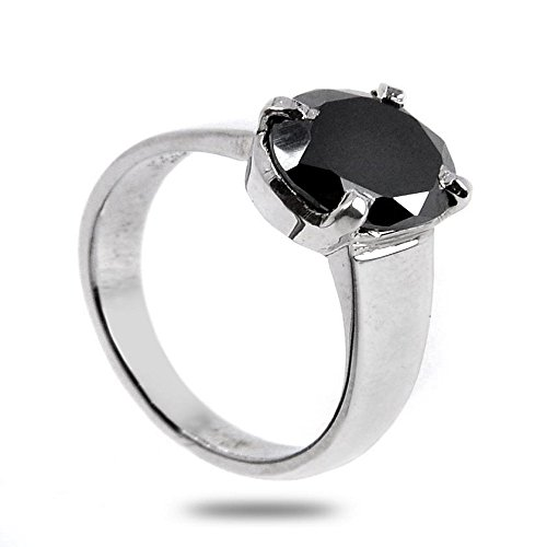 Certified 1.5 Carat Round Cut Black Diamond Ring in 925 Silver Best Price by skyjewels