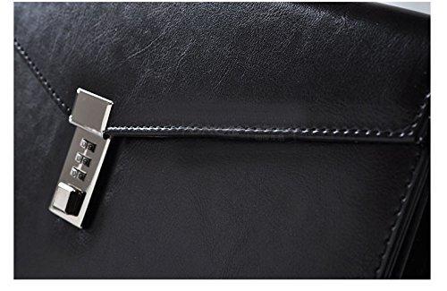 A4 schwarze PU Leder Aktentasche mit Passwortschloss Dokumententasche Manager Aktenmappe Aufbewahrungstasche Papier-Akten Record Bag Business Handtasche