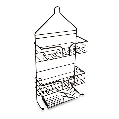 Spa Creations Three-Tier Matte Bronze, Rust-resistant, 100 Percent Steel, Durable, Shower Caddy- Features Two Hooks at the Bottom for Hanging Washcloths or Scrubbers