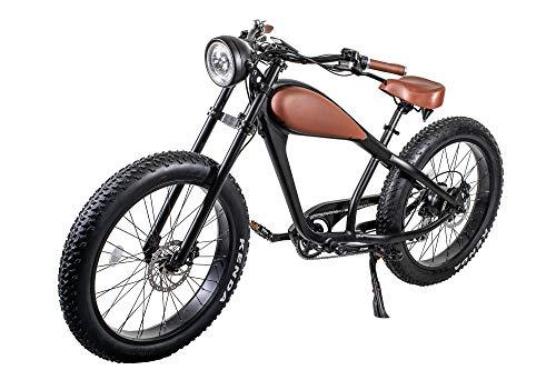 Electric Cruiser Bicycle - CIVIBIKES 48V 750W Bafang Vintage Electric Bike Fat Tire Cheetah Beach Cruiser Electric Bike (Black/BROWNLEATHER 17.5Ah)
