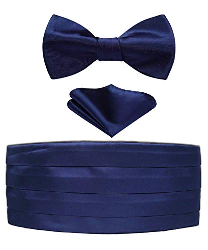 Enmain Men's Formal Cummerbund & Bowtie & Pocket Square Set-Various Colors Navy Blue