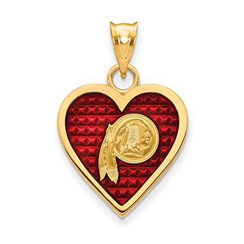 Kira Riley Gold Plated Washington Redskins Enameled Heart Pendant ()