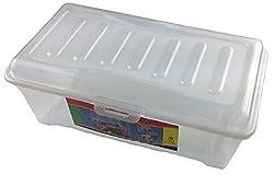 Box Boîte de Rangement avec Couvercle en Plastique Grande (L x l x h): 32x 19x 12cm
