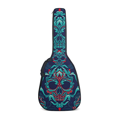 os Muertos Water Resistant Oxford Cloth Guitar Gig Bag Cover Carrying Case with Dual Adjustable Shoulder Strap for 40 41 Inches ()