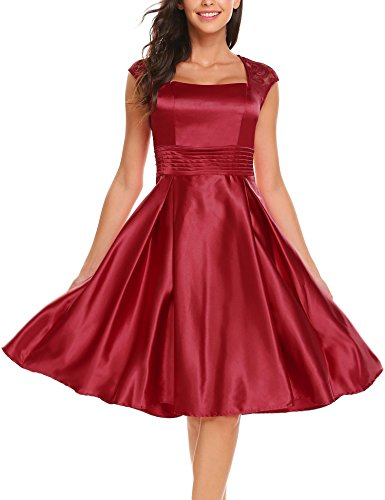 Woman Open Back Satin Dress (ANGVNS Women Open Back Satin Short Prom Dresses Wedding Party Flared Gowns Wine Red L)