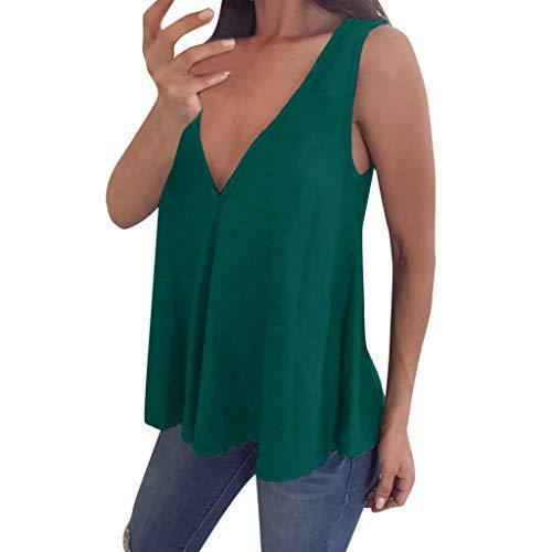 - ANJUNIE Womens V Neck Sleeveless Summer Vest Blouse Plus Size Tunic for Leggings Swing Flare Tank Tops(Green,5XL)