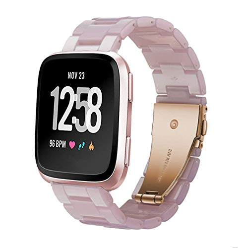 Ayeger Watch Band Compatible with Fitbit Versa/Fitbit Blaze Watch, Fashion Resin Wristbands Women Men Replacement Bracelet Metal Stainless Steel Buckle(Pink)