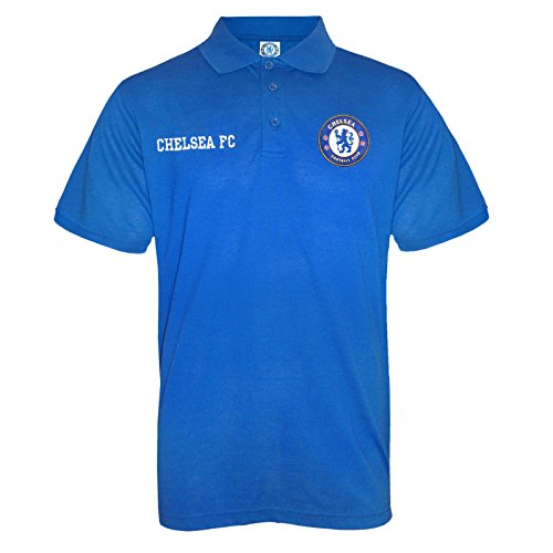 Chelsea FC Official Soccer Gift Mens Crest Polo Shirt Royal Blue XL