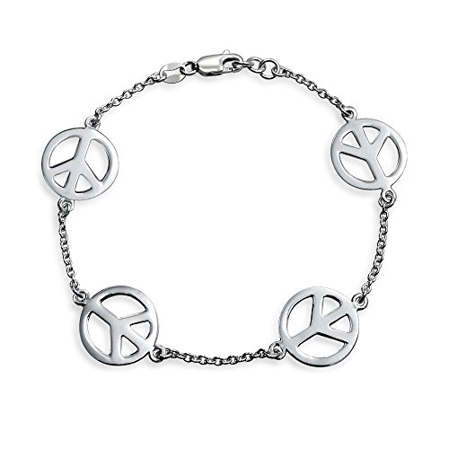 Station Charm Link Chain Symbol Peace Sign Bracelet For Women For Teen 925 Sterling Silver