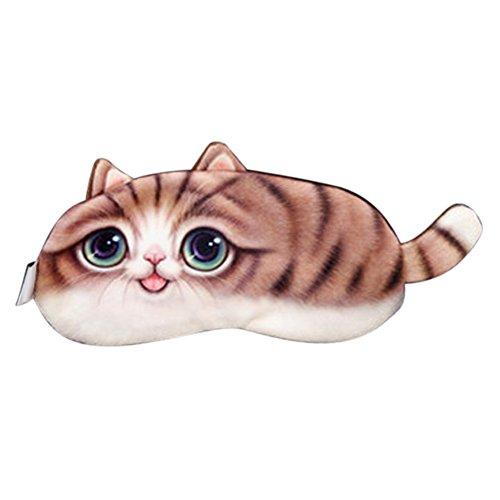 ACTLATI Cute Animal Sleeping Eye Mask Cartoon Animal Sleep Blindfold Cotton Soft Cooling Eyeshade for Travel Home Office Rest Brown Tail Cat