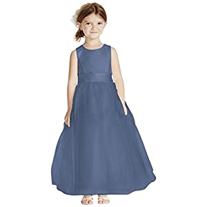 8f7eaa76d David's Bridal Satin Flower Girl/Communion Dress With Tulle Skirt Style  S1038, Steel Blue, 2T