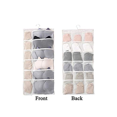(JOONOR 2 Pack/Set,Dual-Sided Closet Hanging Organizer Handy-Dandy Bra and Underwear Organizer for Underwear, Stocking,Bra and Sock,Mesh Pockets with Metal Hanger,30.9