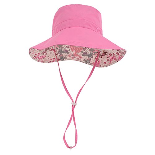 Wide Brim Bucket Sun Hat UV50+ Protection - Summer Boonie Fishing Beach Hats with Chin Cord and Flower Pattern Design - Packable Outdoor Floppy Cap - Women Men (Youth(22.83''- 23.62''), Rose)