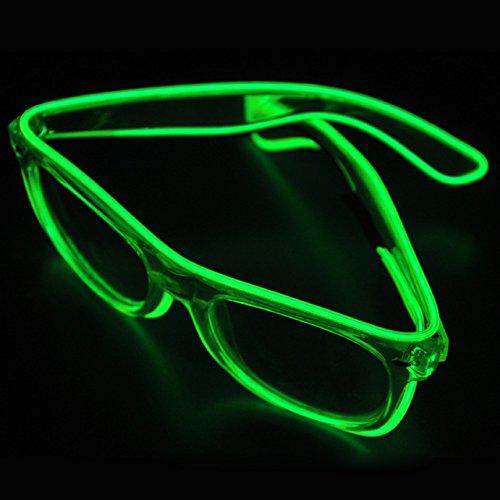 TILO LED Rave Sunglasses White Multicolor Frame EL Wire Glow Colorful Flashing Safety Light up Glasses for Festivals DJ Bright Light (Green) ()