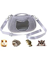 Litewood Pet Portable Carrier Bags Outgoing Breathable Handbag with Adjustable Single Shoulder Strap Travel Pouch Warm Nest Accessories for Sugar Glider Hamster Squirrel Small Animals (Grey)