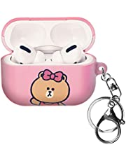 Line Friends AirPods Pro Case with Key Ring Keychain Key Holder Hard PC Shell Strap Hole Cover [Front LED Visible] Accessories Compatible with Apple Airpods Pro - Greeting Choco