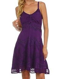 Sakkas Womens Stonewashed Rayon Adjustable Spaghetti Straps Mid Length Dress