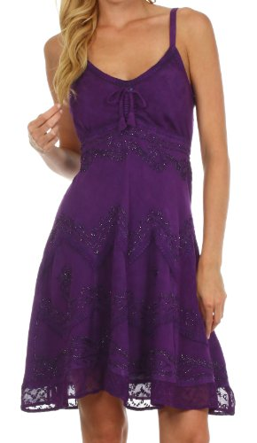 Sakkas 4031 Stonewashed Rayon Adjustable Spaghetti Straps Mid Length Dress - Purple - 1X/2X