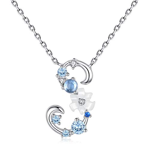 VIKI LYNN Letter S Initial Necklace 925 Sterling Silver Cubic Zirconia Personalized Gifts for ()