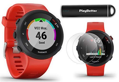 Garmin Forerunner 45 (Lava Red) Running GPS Watch Power Bundle | +HD Screen Protectors & PlayBetter Portable Charger | Garmin Coach, Lightweight, Heart Rate, Body Battery, Smart Notifications