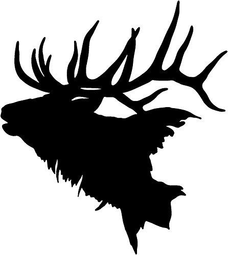 Elk Head Decal #2 Vinyl Truck Window Stickers, Die Cut Vinyl Decal For Windows, Cars, Trucks, Tool Boxes, Laptops, Macbook - Virtually any Hard, Smooth Surface, Black 12 - Elk Decal