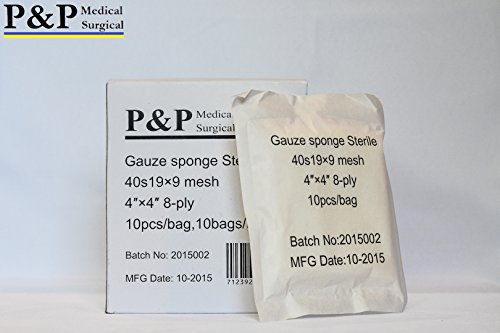 GAUZE SPONGE COTTON STERILE 8 ply (Grade Class I(a) cotton raw used for production)_4 x 4 _ 10 boxes = 1000 pads (10 Pcs/bag, 10 bags/box) _ MANUFACTURED BY P&P MEDICAL SURGICAL LLC by P&P Medical Surgical