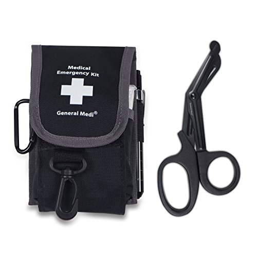 Emergency Medical Tools Shears/Scissors, Pupil Light, Tweezers with Tactical First Responder Tool Belt Holster + Bonus Essential Emergency First Aid - Shear Kit Holster