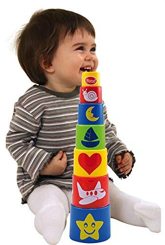 Gowi 453-07 Pyramide Standard und Steckspielzeug 7teilig Stapel