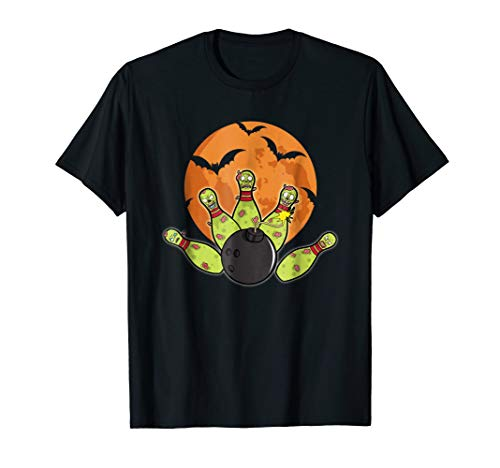 Halloween Bowling T-Shirt Zombie Pins Bats Bowler -