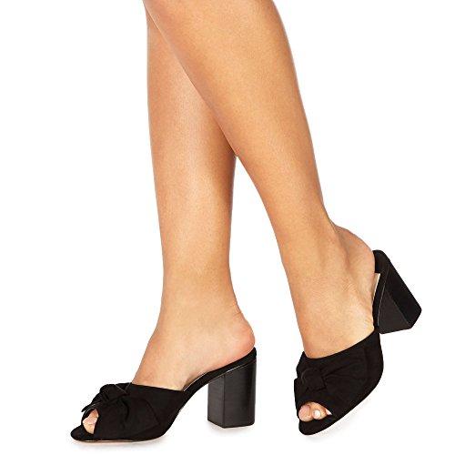 Debenhams Faith Womens Black Suedette 'Daiquiri' High Block Heel Shoes wICk6fy