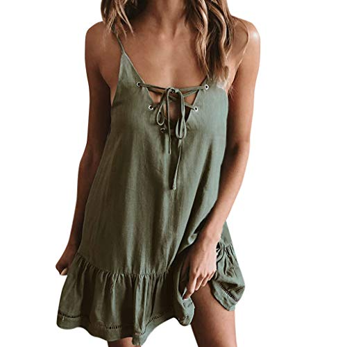 Vestiti Donna Spiaggia Abito Elegante Mini A Bluelucon Bohemian Pieghe Clubwear Scollo Partito V Sexy Verde Tracolla Abiti Da Vestito Sottile Estivo y76bgf