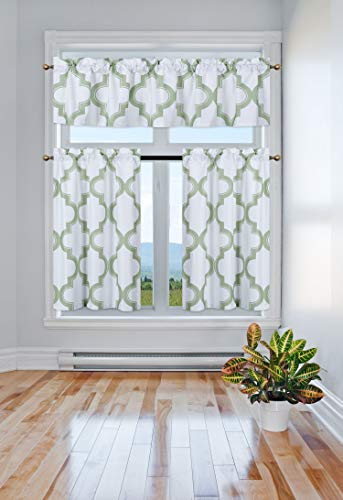 Green Kitchen Curtain - GorgeousHome (7LO) 3PC Kitchen Set 2 Tier +1 Valance Geometric 2-Shade Print Lined Blackout Window Curtain Rod Pocket Top Panel Drape Many Colors (Sage Green)