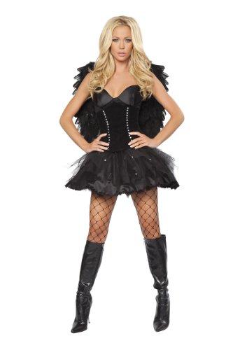 [Roma Costume 2 Piece Sexy Dark Angel Costume, Black, Small/Medium] (Dark Angel Costumes Women)