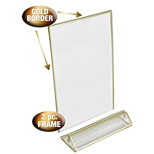 super star quality Clear Acrylic Photo Frame Display Table Card Holder with Vertical Stand and 3mm Gold Border, 4-Inch-by-6-Inch, Pack of 6