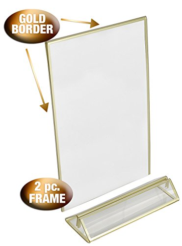Super Star Quality Clear Acrylic Double Sided Frames Display Holder with Vertical Stand and 3mm Gold Border, 5 x 7-Inches (Pack of 6) by Super Star Quality (Image #2)