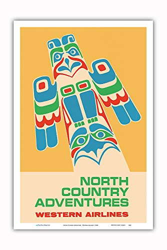 (Pacifica Island Art - North Country Adventures - Pacific Northwest Totem Pole - Western Airlines - Vintage Airline Travel Poster c.1960s - Master Art Print - 12in x 18in)