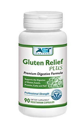 Gluten Relief Plus - 90 Vegetarian Capsules - Gluten Digestion Support - Premium Natural Digestive Enzyme Formula - Contains DPP-IV Enzyme Complex - AST Enzymes