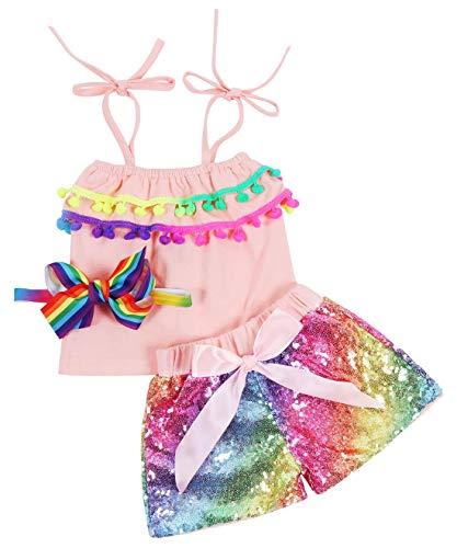 Baby Girls Sequin Shorts Outfits Toddler Kids Sparkle Toddler Rainbow Shirt Halter Pom pom Tops Tassel Glitter Party Baby Shorts Outfits Birthday Headband Unicorn Peach Rainbow 4T -