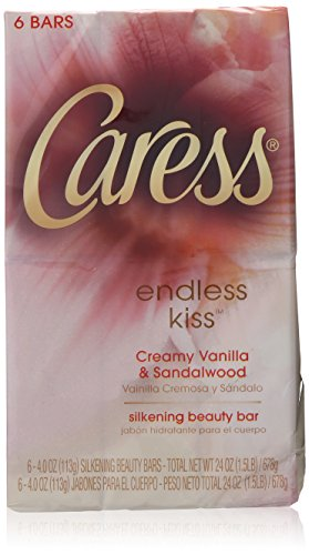 Caress Endless Kiss Creamy Vanilla and Sandalwood Silkening Beauty Soap Bar for Unisex,6 Count,  4 Ounce - Caress Bar Soap
