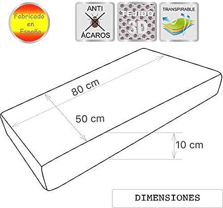 Pekitas - Colchón minicuna 50 x 80 cm,Funda Tejido AloeVera Ergonómico Transpirable Antiahogo con cremallera lavable, interior espuma blanca,Fabricado en España